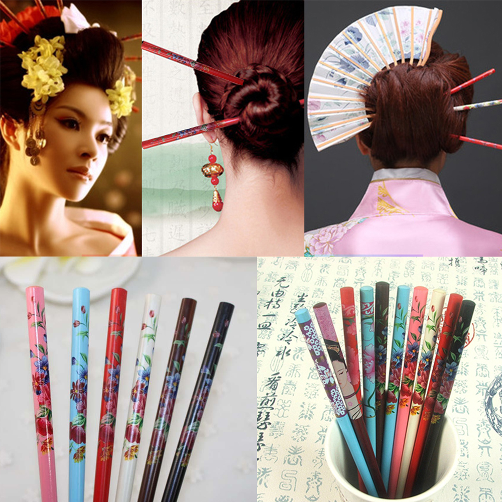2Pcs Graceful Floral Bride Hairpin Wooden Chopsticks Hair Stick Handmade Colorful Hair Fork Hand-carved Vintage Painting Hairpin