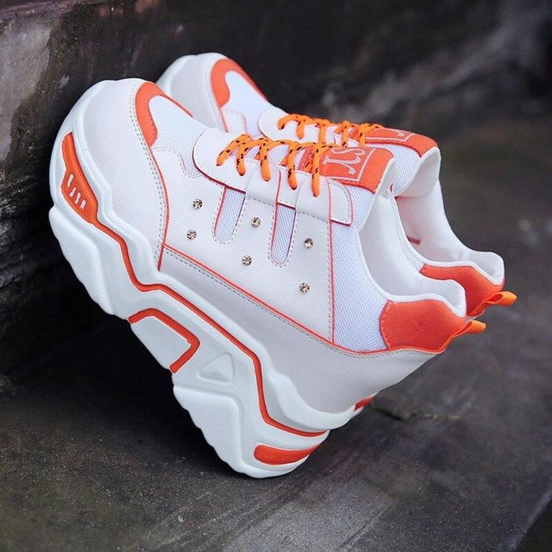 Women Walking Wedges Shoes For Woman Increasing 9CM INS Ulzza Harajuku Sneakers Ladies Height Platform Breathable Basket Femme