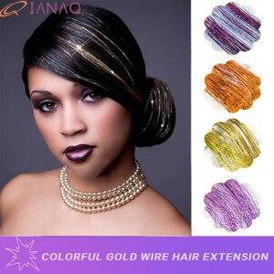 QIANAO Tinsel плетение волос синтетические волосы Сверкающие Фиолетовые радужные розовые золотые синие красочные волосы Bling 22 дюймов аксессуары ...