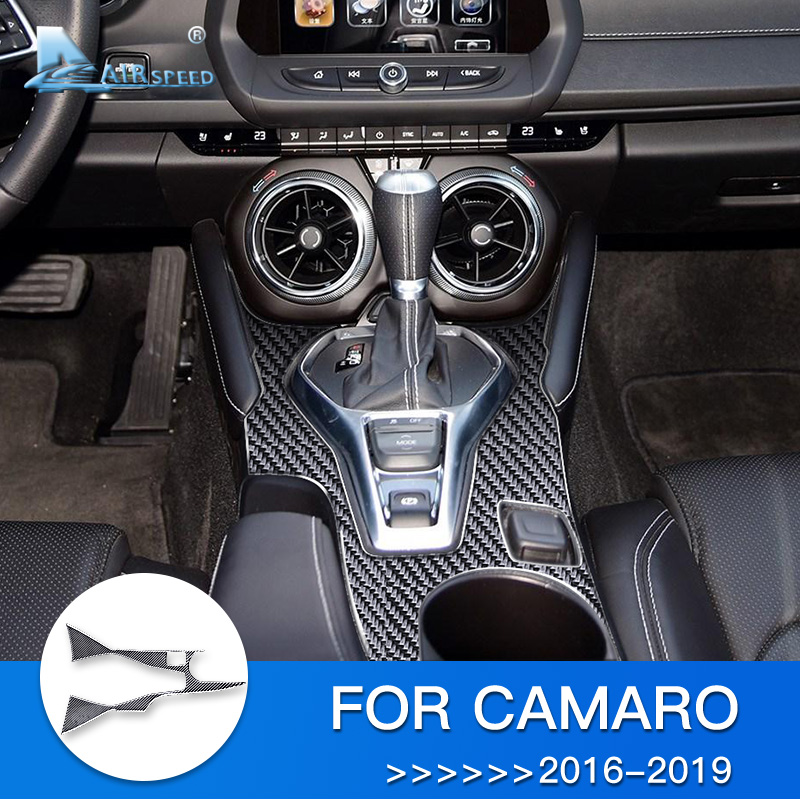 Carbon fiber Interior Gear Shift Frame Cover Trim For Chevrolet Camaro 2016-2019