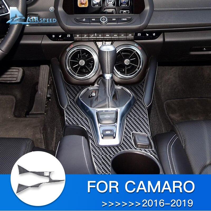 AIRSPEED voiture changement de vitesse panneau autocollant pour Camaro Fiber de carbone garniture intérieure pour Chevrolet Camaro 2016 2017 2018 2019 accessoires