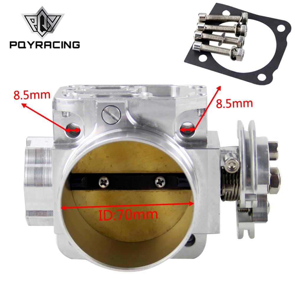 PQY-UNIVERSAL אלומיניום צריכת סעפת 70mm מצערת גוף ביצועים בילט עבור מיצובישי לנסר Evo 4 5 6 4g63 PQY6941