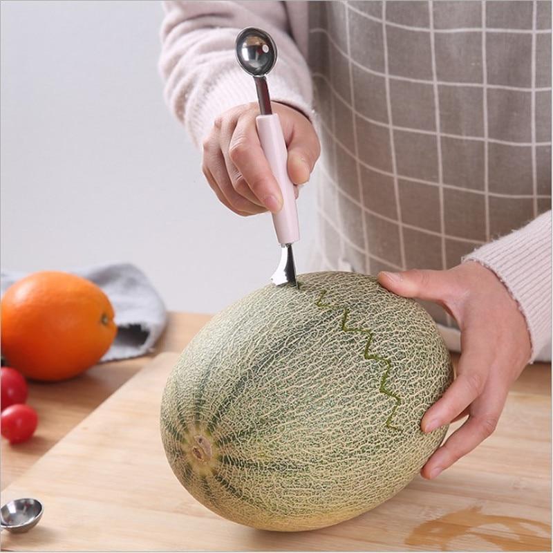 A3130 Double Headed Stainless Steel Watermelon Melon Baller Kitchen Cut Watermelon Carving Knife Fruit Melon Baller Platter Dig