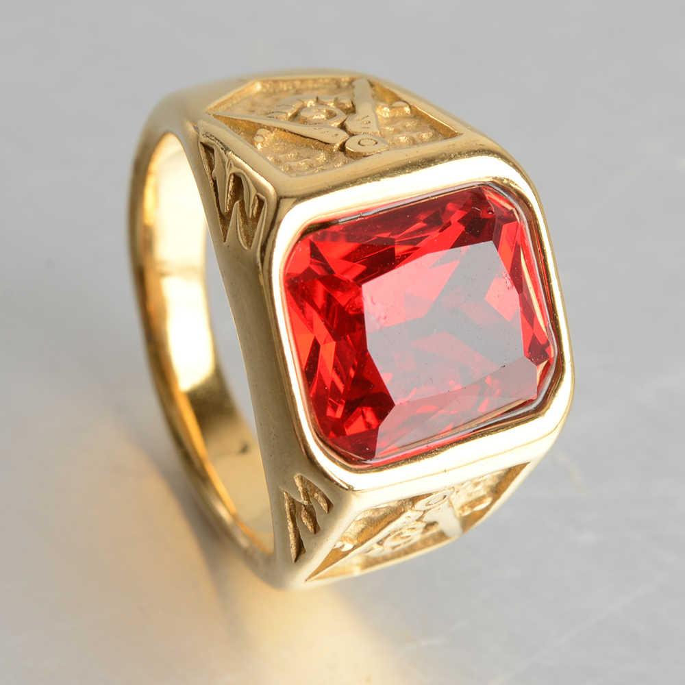 ชายคุณภาพสูง Mens Gold Silver AAA + zircon ฟรี Mason Freemasonry แหวนอิฐสแตนเลสสตีลแหวนหินสำหรับ man