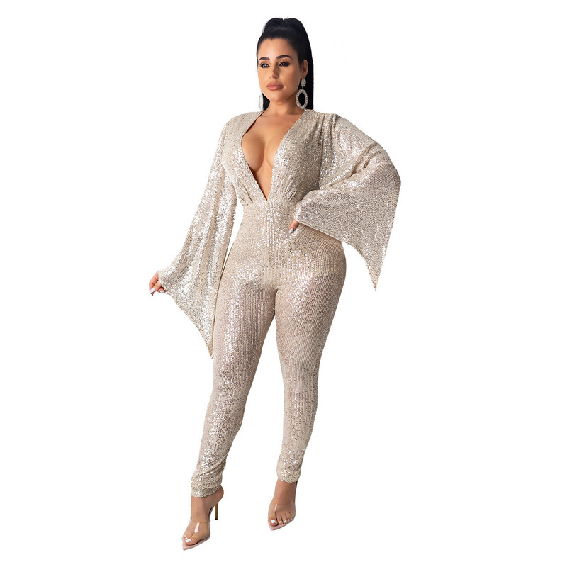Jump Suits For Women Sparkly Jumpsuit Long Pants Elegant Ladies Jumpsuits Plus Size Overalls Long Sleeve Bodysuit Combinaison