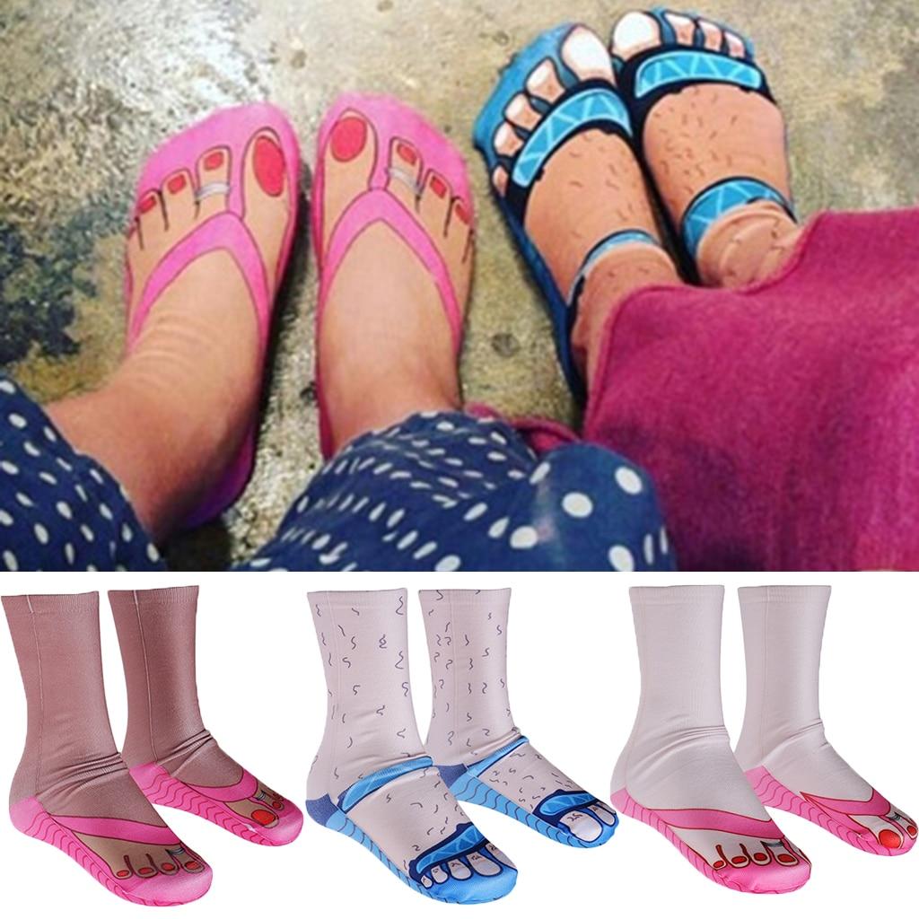 Novelty Fun Socks 3D Pattern Soft Crew Socks Unisex Fancy Dress Funky Slippers Flip Flops Socks Gift