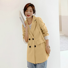 Fashion lady blazer 2019 new autumn Korean double-breasted loose yellow jacket suit female Casual office top high quality