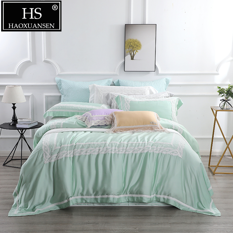 High-end Green 4 Piece Lace Bedding Sets Modern Princess 100% Tencel Lyocell Super Breathable Bed Linen Set 650 Thread Count