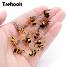 TREHOOK 10 adet #10 biyonik arı Fly Fishing sinekler kuru yapay Lures alabalık Fly bağlama malzemeleri yüzer cazibesi balıkçılık sinekler yem