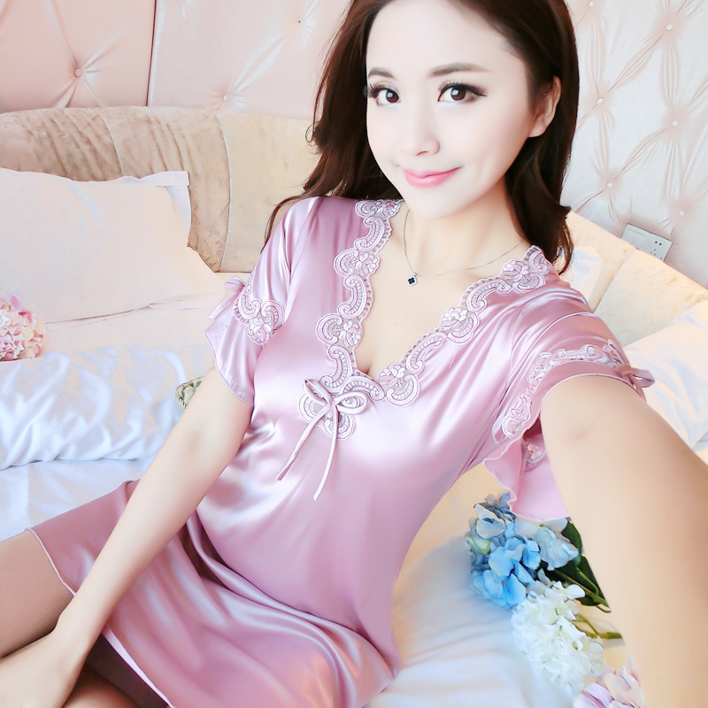 Spring And Summer New Style Women's Silk Casual Sexy Imitated Silk Fabric Nightgown Tracksuit