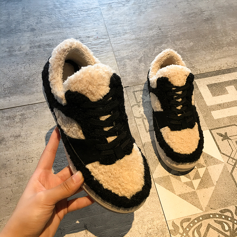 Women's Sneakers With Platform Summer Shoes shoes Thick 2019 Fashion Winter Lace-Up Retro Slip-On Riband Rubber Flock Low Plush 35