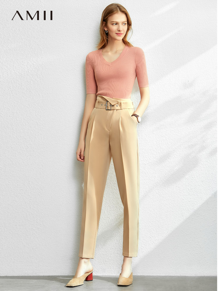 Amii Minimalist Straight Trousers Autumn Women Casual Solid Slim Fit Pockets Female Ankle-Length Pants 12020001