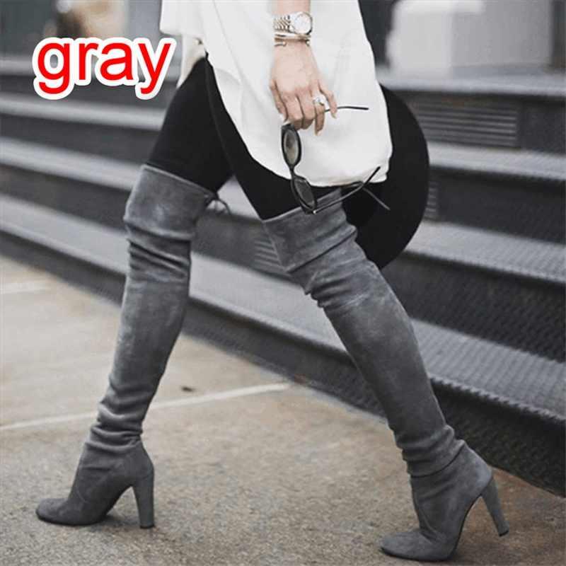 2020 חדש פו זמש Slim מגפיים סקסי מעל הברך גבוהה נשים אופנה חורף ירך גבוהה מגפי נעלי אישה אופנה botas Mujer
