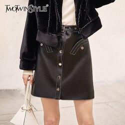 TWOTWINSTYLE Casual PU Leder Frauen Rock Hohe Taille A-line Streetwear Stil Röcke Für Weibliche Kleidung 2020 Mode Frühjahr Neue