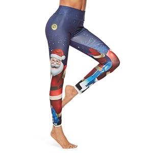Image 3 - Womens Cartoon Pattern Christmas Leggings Santa Claus Printing Pants High Waist Jeggings Workout Push Up Leggins Mujer Leggings
