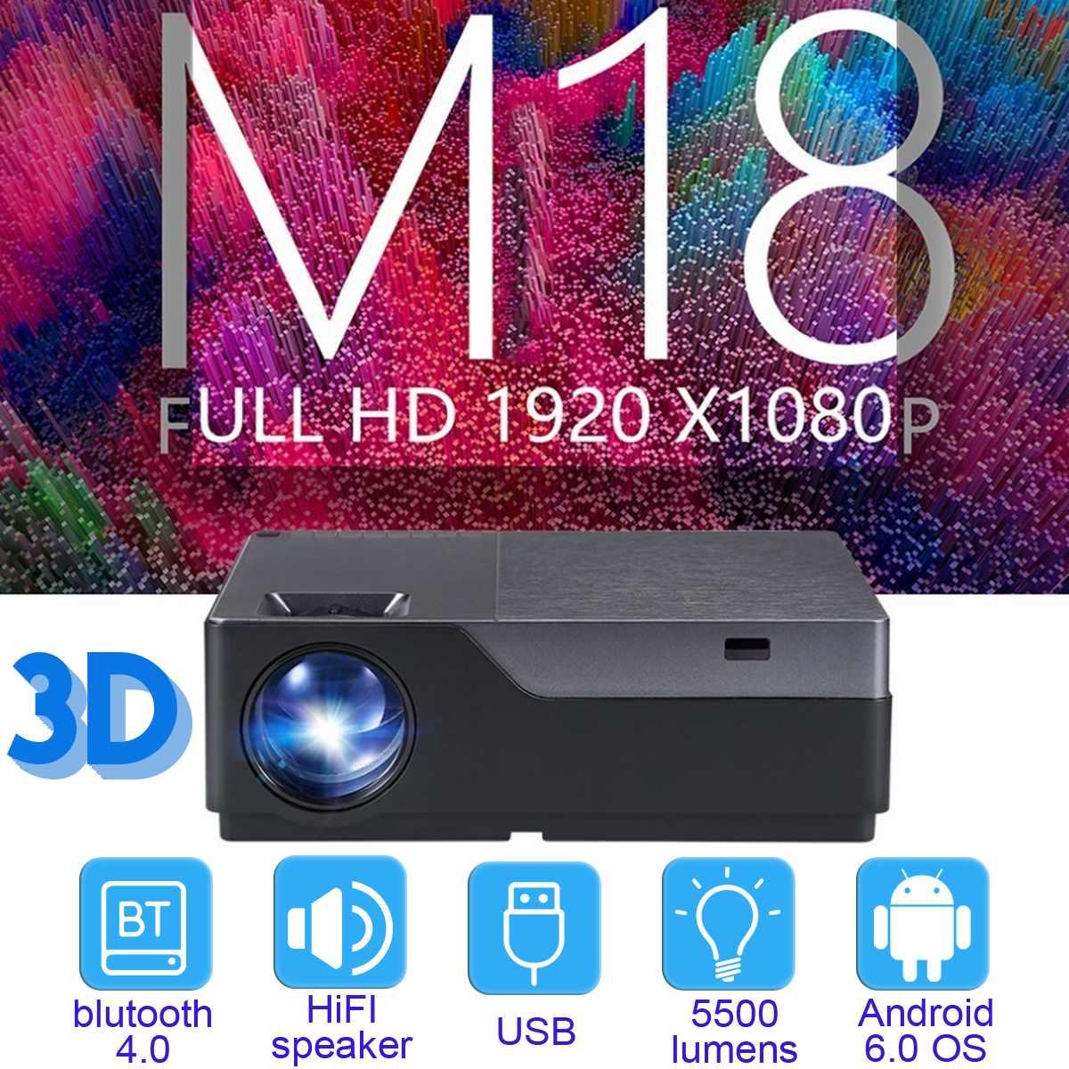 M18UP 5500 Lumens 1920x1080 mini projecteur LED 3D Home cinéma projecteur Full HD projecteur Android 6.0 OS 1G + 8G projecteur à distance