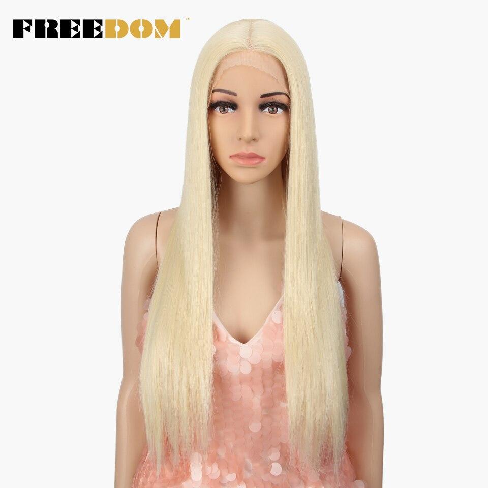 Özgürlük orta kısmı yüksek sıcaklık Fiber 613 renk 26 inç uzun düz doğal saç çizgisi sentetik dantel ön peruk kadınlar için