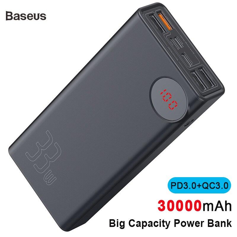 Baseus nouveau 30000mAh batterie externe PD3.0 chargeur rapide pour iPhone Xs Max Xr X 8 Plus QC3.0 chargeur rapide batterie externe pour voyage