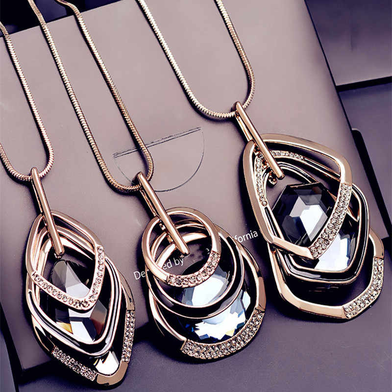 BYSPT Silver Gold Color Rhinestone Long Necklace Vintage Punk Triangle Square Oval Crystal Glass Pendant Necklaces Women Jewelry