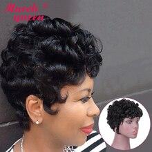 Marchqueen-pelucas de cabello humano brasileño para mujeres negras, pelo marrón rizado Remy, sin pegamento, hecha a máquina, Shor corte Pixie