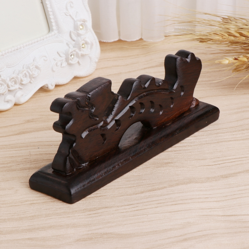 Dragon Shape Brush Rest Stand Chinese Calligraphy Pen Holder Vintage Carved Wood
