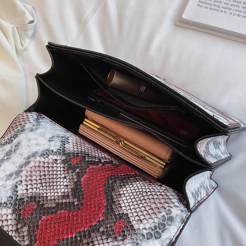Wężowy wzór torba na ramię kobiety 2019 mała chusta skórzana torba znanych marek torby kobieta