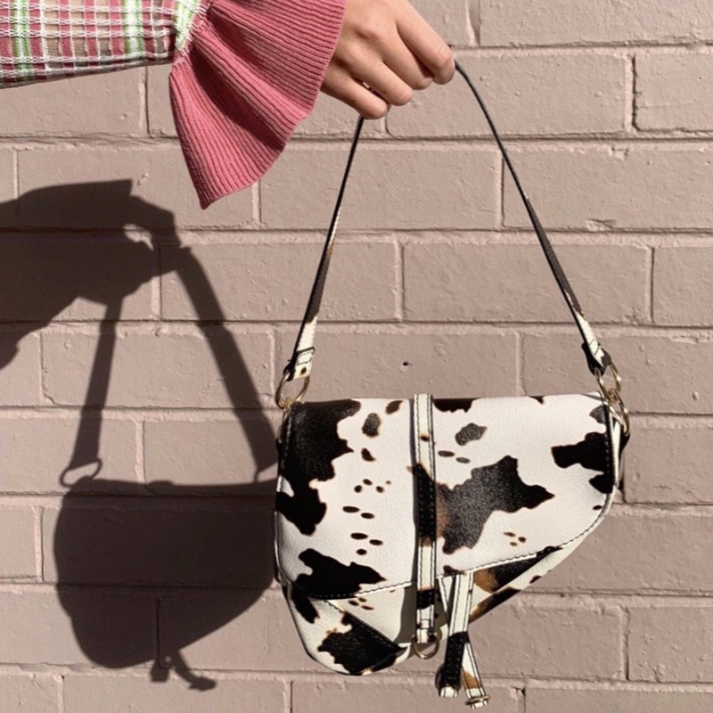 Casual Cow Pattern Single Shoulder Saddle Bag Women Handbags Designer Ladies  American Retro Crossbody Bags Female Messenger Bag