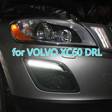 цена на Free shipping Waterproof 12v LED CAR DRL Daytime Running Lights fog lamp with dimming style Relay for VOLVO XC60 2011 2012 2013