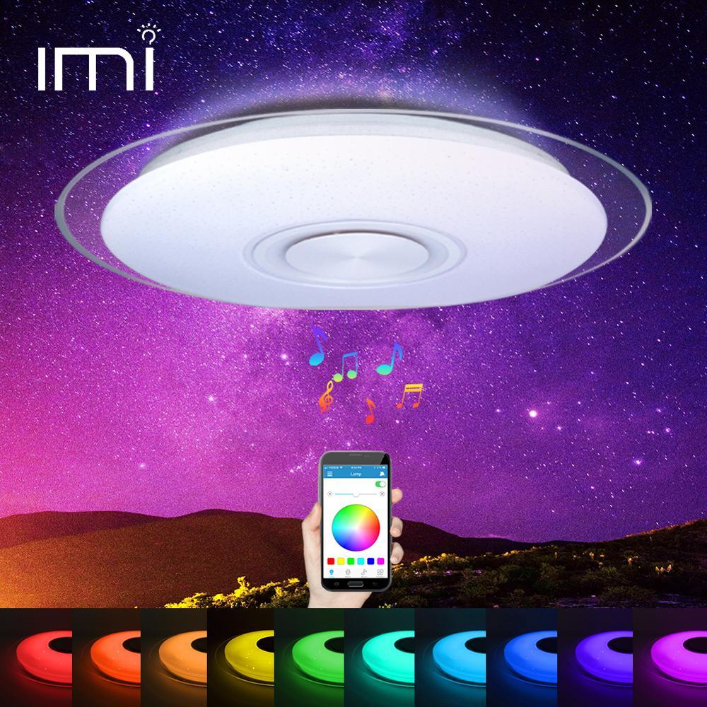 RGB Mordern LED תקרת אור ניתן לעמעום 220V APP שלט Bluetooth & מוסיקה רמקול צבעוני שינה סלון חכם מנורה