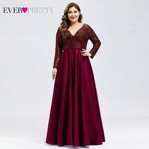 Image 4 - Plus Size Satin Evening Dresses Ever Pretty Sequined Deep V Neck Long Sleeve Elegant Formal Dresses EP00817 Robe Soirée En Satin