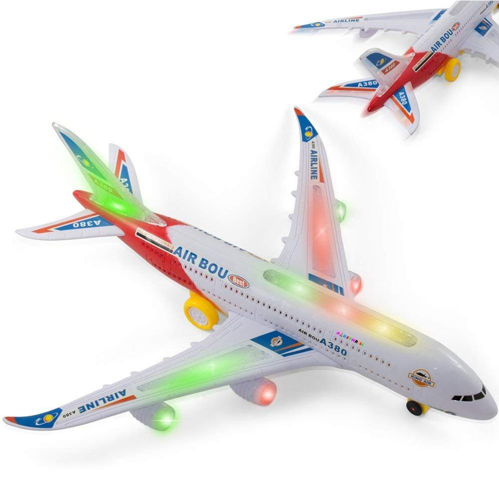 Kids Electric Airplane Toy Simulation Aircraft Jet with Flashing Lights and Engine Sounds 360° Rotating A380 Plane Model Toy image