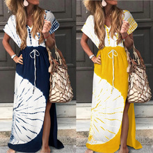 Beach Dress Short Sleeves Loose Long Printed V-neck Split Bandage Dresses Swimsuit Cover Up Kaftan Beach Saida De Praia Skirt