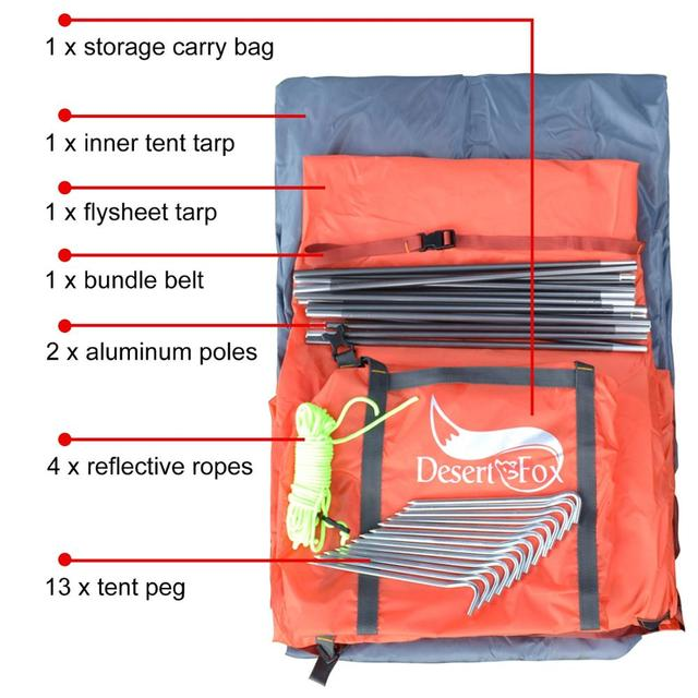 Desert&Fox Backpacking Camping Tent, Lightweight 1-3 Person Tent Double Layer Waterproof Portable Aluminum Poles Travel Tents 5