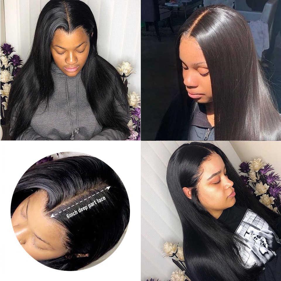 Pelucas con encaje frontal de pelo lacio brasileño de 13x6, pelucas de cabello humano pre-arrancadas con nudos blanqueados, pelucas de cabello humano con encaje frontal para mujer Remy