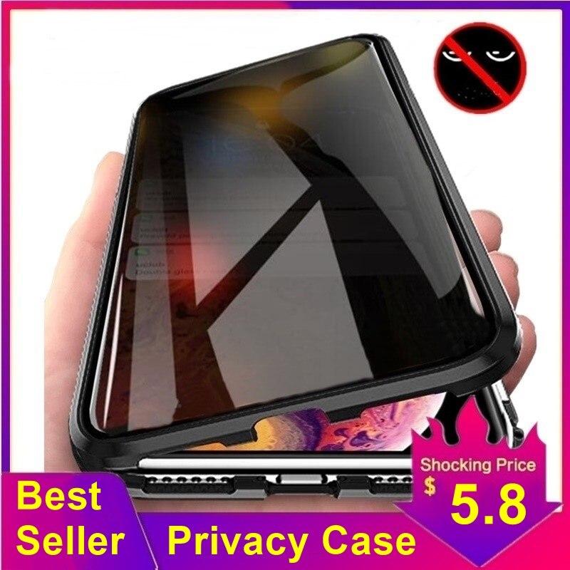 Tongdaytech Magnetische Gehärtetem Glas Privatsphäre Metall Telefon Fall Coque 360 Magnet Antispy Abdeckung Für Iphone XR XS X 11 Pro MAX 8 7 6