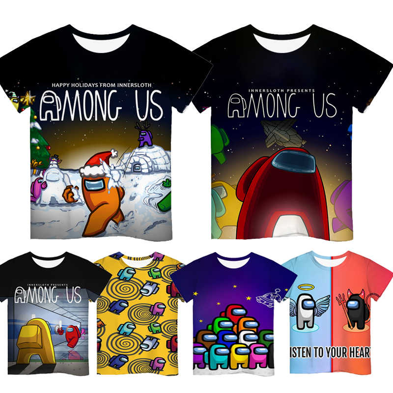 3D Game Among Us Printed T-shirt Short Sleeve Kids Boys Girls Casual Tops Tees Toddler Children Colorful Camiseta
