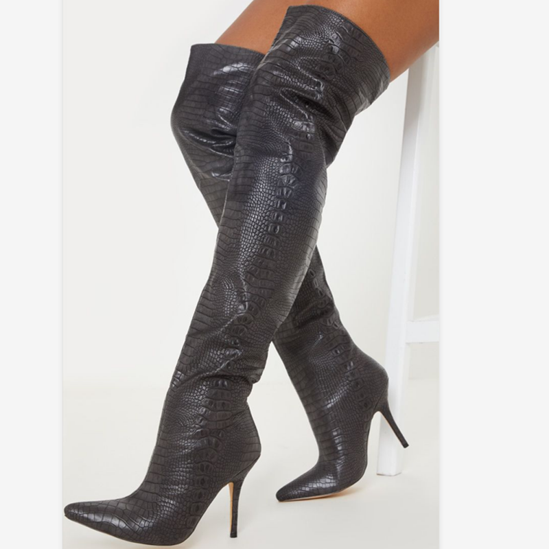 Prova Perfetto 2020 bahar seksi kadın botları yüksek topuklu yumuşak deri süet üstü diz çizmeler sivri burun moda bayan botları