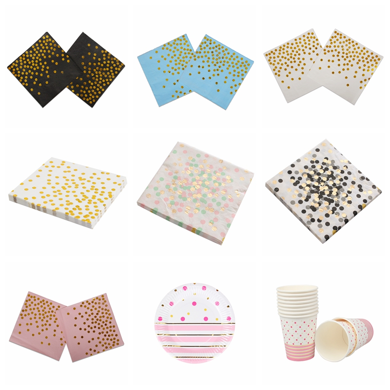 20pc/lot Gold Colorful Party Supplies Paper Napkins 10pc Plate Cup Cartoon Birthday Ramadan Decoration For Kids Girl Baby Shower