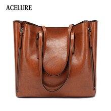 ACELURE Berühmte Marke Handtasche Frauen PU Leder Schulter Tasche Casual Große Kapazität Top Griff Eimer Tasche Einfache Stil Solide totes