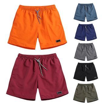 Men Casual Breathable work Pants Pockets Beach Solid Color Sport Shorts Men #8217 s Short Jogger Shorts Pant with Pocket Breathable tanie i dobre opinie Lawrenceblack Daily Na co dzień COTTON CN (pochodzenie) Cztery pory roku szorty Do kolan Elastyczny pas REGULAR Proste