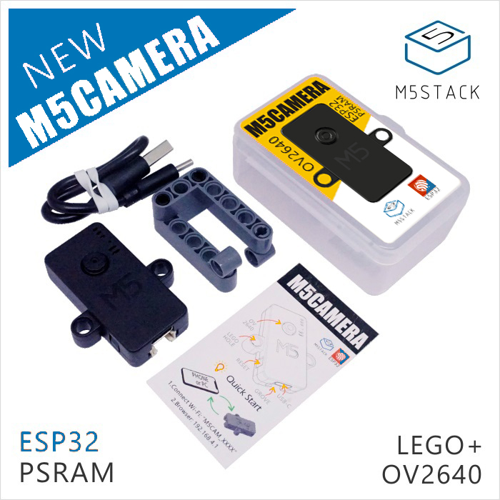 M5Stack Official ESP32 WROVER With PSRAM Camera Module OV2640 Type-C Grove Port Mini Camera Development Board Building Brick