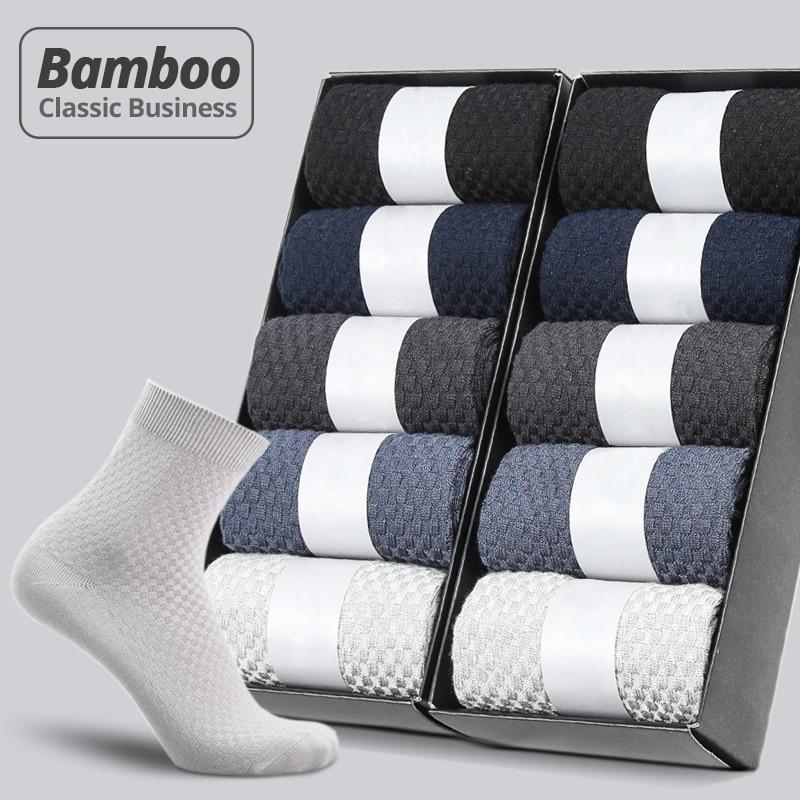 HSS Brand 10 Pairs/Lot Men Bamboo Fiber Socks New Classic Business Long Socks Mens Dress Sock For Winter Gift Plus Size EUR39-45