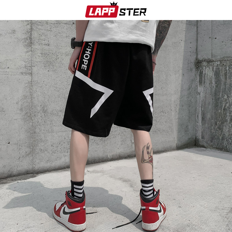 LAPPSTER Men Japanese Streetwear Sweat Shorts 2020 Summer Mens Cotton Korean Fashions Joggers High Waisted Hip Hop Sweatpants