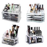 Organizador de maquillaje caja de almacenamiento de cosméticos caja de plástico transparente Organizador acrílico de escritorio joyería baño multifuncional