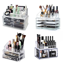 Makeup Organizer Cosmetic Storage Box Transparent Plastic Organizador Acrylic Desktop Jewelry  Bathroom Multifunctional