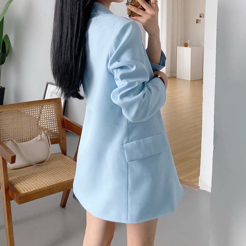 2020 Spring Autumn Office Lady Long Blazer Jacket Single Solid  Female Casual Loose Suit Coat Outwear