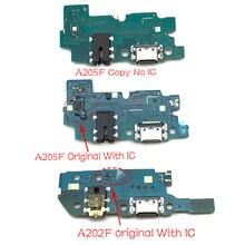 10 قطعة ، USB شحن ميناء مجلس فليكس كابل موصل أجزاء لسامسونج غالاكسي A20 A205F A205 A202F A202 ميكروفون وحدة