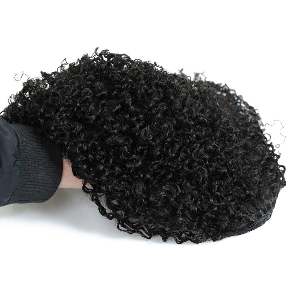 Crépus bouclés queues de cheval pour les femmes brésiliennes 100% pince à cheveux humains dans l'extension de cheveux naturel noir Dolago vierge cheveux produits - 3
