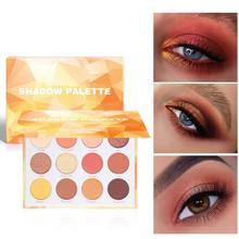 CmaaDu 12 Colors Eye Shadow Palette Changeable Pink Violet Eye Shadow Makeup Matte Shimmer Glitter Eyeshadow Powder TSLM1