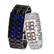 Бинарные светодиодные электронные цифровые часы Водонепроницаемые женщины мужчины часы сплав ремешок часы золото дамы Кварцевые наручные часы любителей 2020